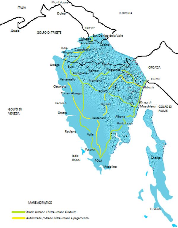 Cartina Stradale Italia Slovenia Croazia.La Mappa Dell Istria Info Istria